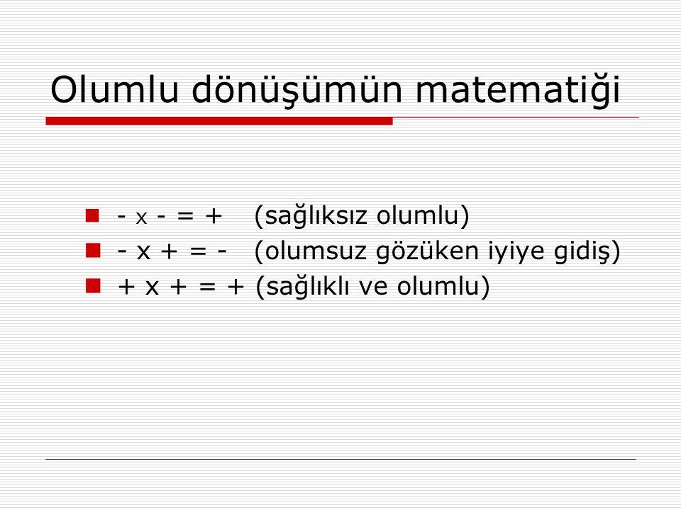 Olumlu dönüşümün matematiği - x - = + (sağlıksız olumlu) - x + = - (olumsuz gözüken iyiye gidiş) + x + = + (sağlıklı ve olumlu)