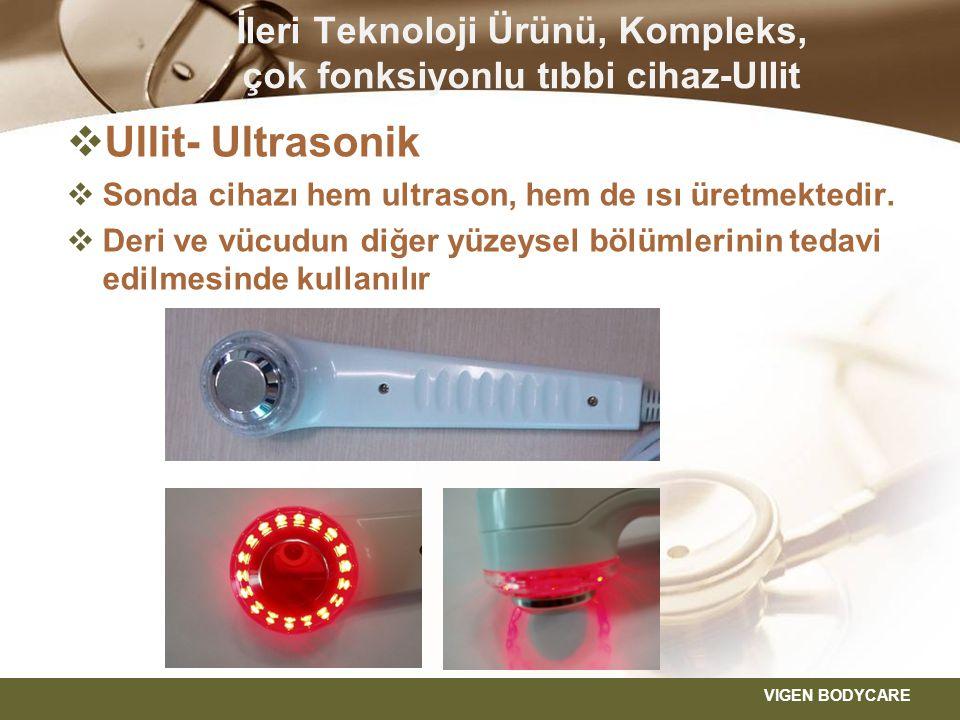  Ullit- Enterferans ısıtma sondası  Sonda, hem enterferans, hem de ısı üretir  Küçük bölgelerin tedavi edilmesinde kullanılır VIGEN BODYCARE İleri Teknoloji Ürünü, Kompleks, çok fonksiyonlu tıbbi cihaz-Ullit