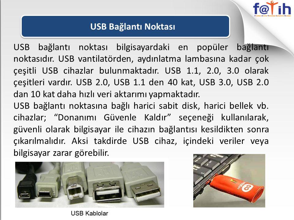 USB bağlantı noktası bilgisayardaki en popüler bağlantı noktasıdır. USB vantilatörden, aydınlatma lambasına kadar çok çeşitli USB cihazlar bulunmaktad