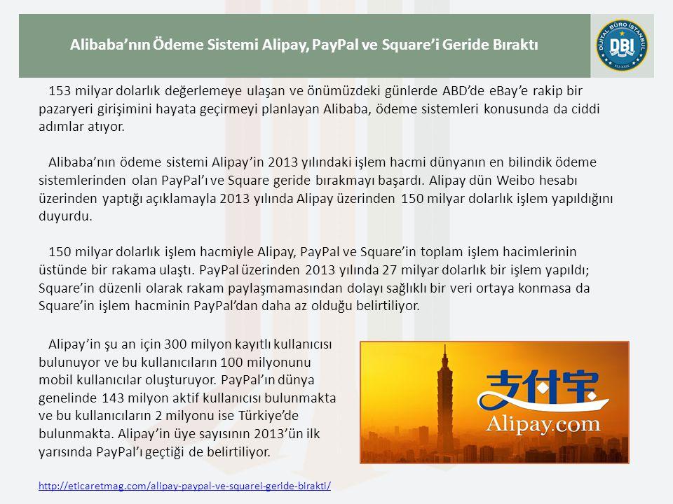 http://eticaretmag.com/alipay-paypal-ve-squarei-geride-birakti/ Alibaba'nın Ödeme Sistemi Alipay, PayPal ve Square'i Geride Bıraktı 153 milyar dolarlı