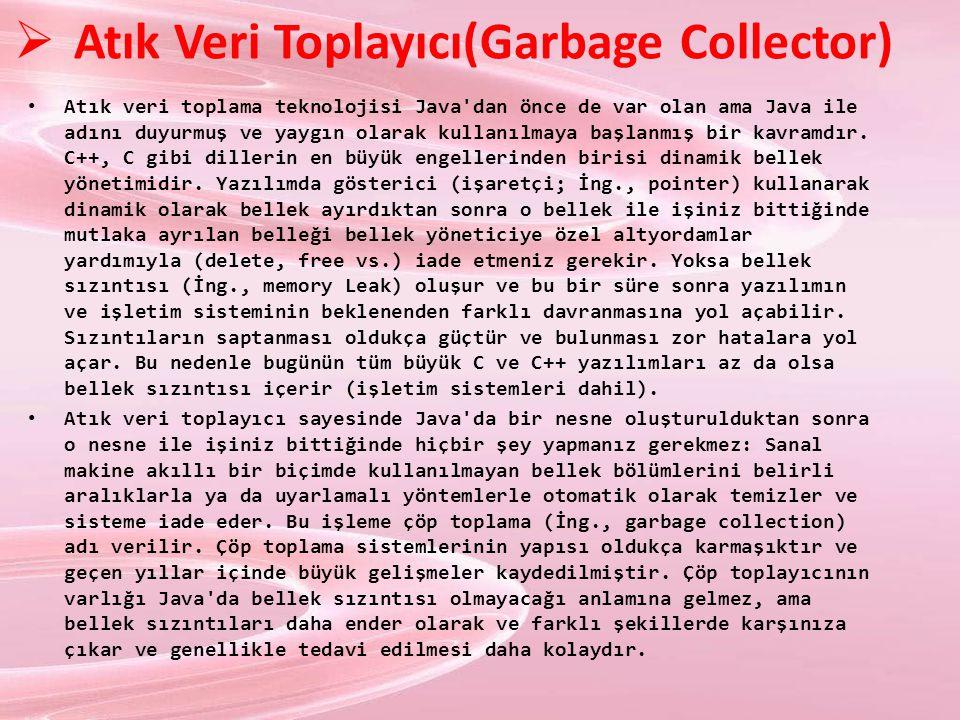  Atık Veri Toplayıcı(Garbage Collector) Atık veri toplama teknolojisi Java'dan önce de var olan ama Java ile adını duyurmuş ve yaygın olarak kullanıl