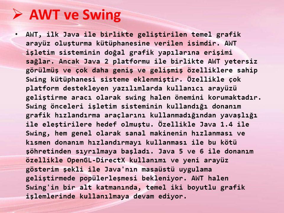  AWT ve Swing AWT, ilk Java ile birlikte geliştirilen temel grafik arayüz oluşturma kütüphanesine verilen isimdir. AWT işletim sisteminin doğal grafi
