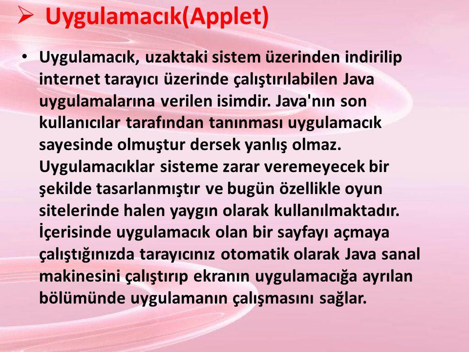  Uygulamacık(Applet) Uygulamacık, uzaktaki sistem üzerinden indirilip internet tarayıcı üzerinde çalıştırılabilen Java uygulamalarına verilen isimdir
