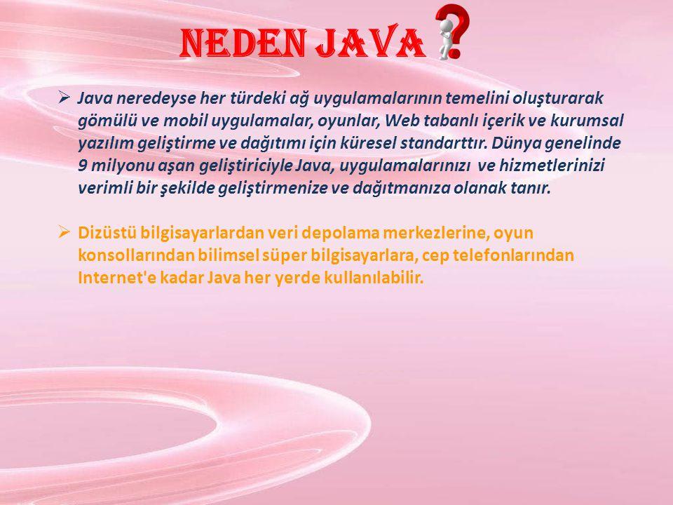 Neden Java  Java neredeyse her türdeki ağ uygulamalarının temelini oluşturarak gömülü ve mobil uygulamalar, oyunlar, Web tabanlı içerik ve kurumsal y