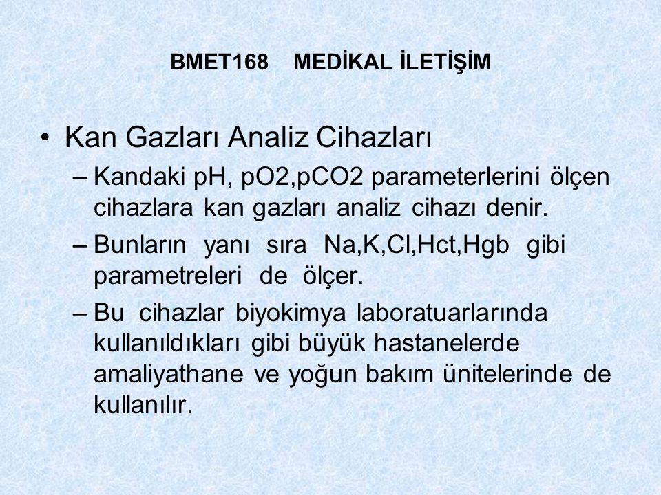 BMET168 MEDİKAL İLETİŞİM Kan Gazları Analiz Cihazları –Kandaki pH, pO2,pCO2 parameterlerini ölçen cihazlara kan gazları analiz cihazı denir. –Bunların