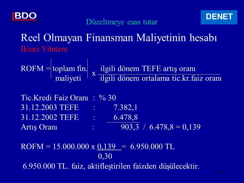 24 Düzeltmeye esas tutar Reel Olmayan Finansman Maliyetinin hesabı Birinci Yöntem ROFM = borç borcun kapandığı aya ait TEFE - borcun alındığı aya ait TEFE tutarı borcun alındığı aya ait TEFE Örnek Makine bedeli : 100.000.000 TEFE Kredi : 100.000.000 ( 15.2.2003 ) 7.055,7 6 aylık faiz : 15.000.000 ( 31.8.2003 ) 7.169,4 113,7 ROFM = 100.000.000 x 113,7 = 1.611.463 7.055,7 1.611.463 TL.