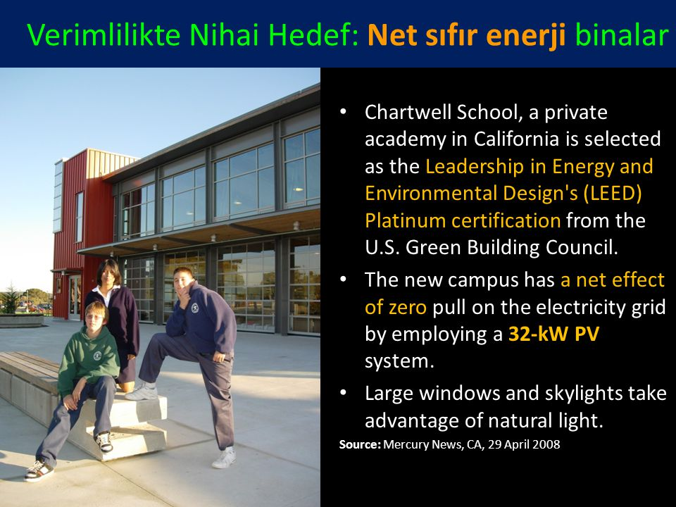 Verimlilikte Nihai Hedef: Net sıfır enerji binalar Chartwell School, a private academy in California is selected as the Leadership in Energy and Envir