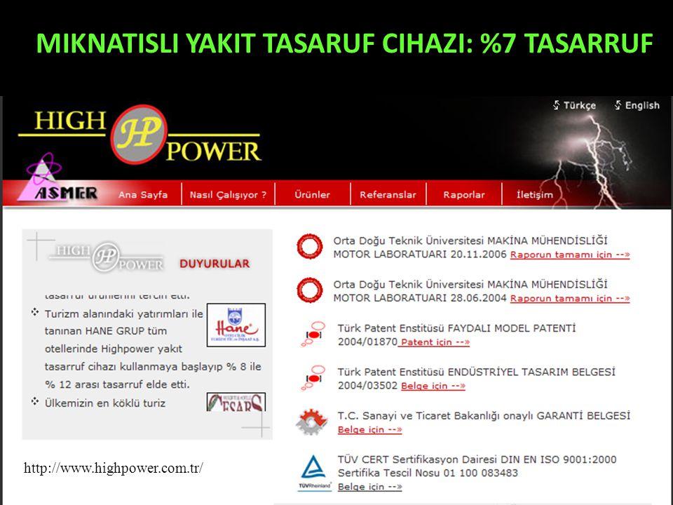 MIKNATISLI YAKIT TASARUF CIHAZI: %7 TASARRUF http://www.highpower.com.tr/