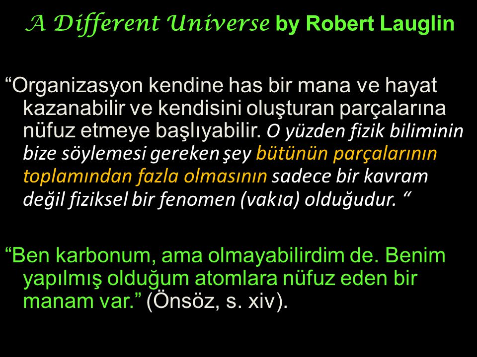 "A Different Universe by Robert Lauglin ""Organizasyon kendine has bir mana ve hayat kazanabilir ve kendisini oluşturan parçalarına nüfuz etmeye başlıya"