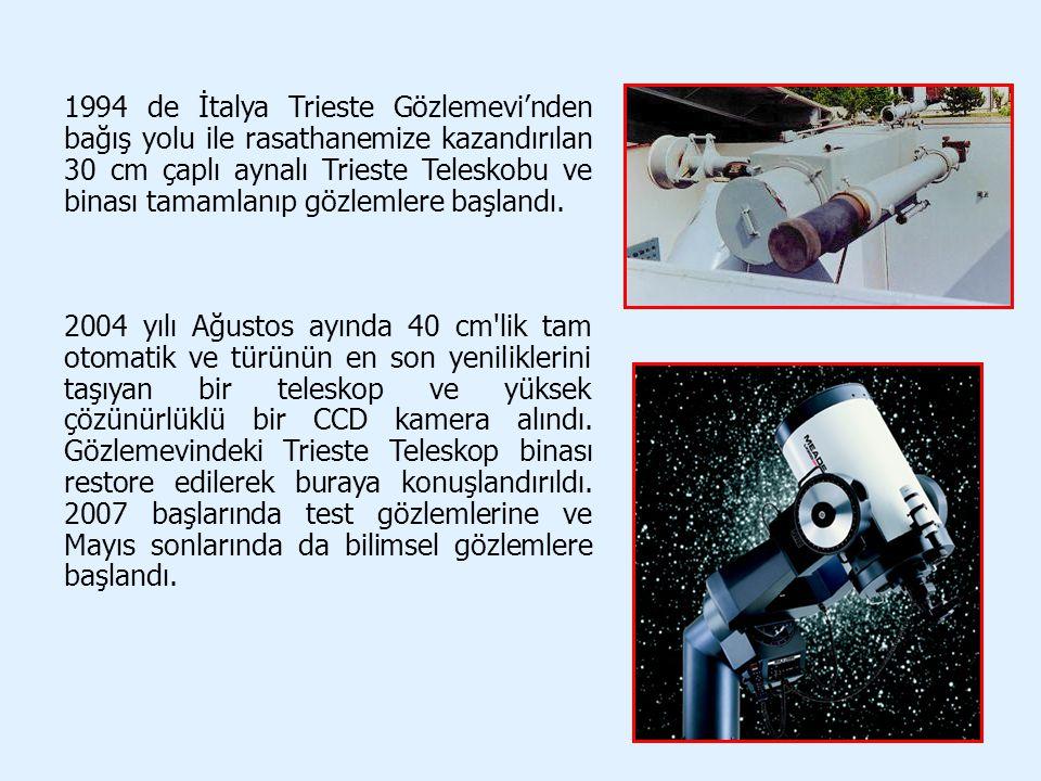 1994 de İtalya Trieste Gözlemevi'nden bağış yolu ile rasathanemize kazandırılan 30 cm çaplı aynalı Trieste Teleskobu ve binası tamamlanıp gözlemlere b