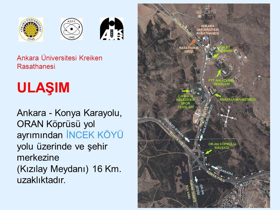 Ankara Üniversitesi Kreiken Rasathanesi ULAŞIM Kızılay Atatürk Bulvarı'ndan 191, 192, 193, 194 numaralı Belediye Otobüsleri Ulus – İncek Dolmuşları