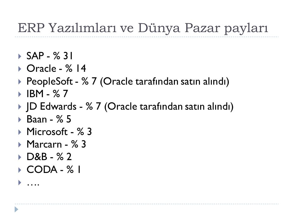 ERP Yazılımları ve Dünya Pazar payları  SAP - % 31  Oracle - % 14  PeopleSoft - % 7 (Oracle tarafından satın alındı)  IBM - % 7  JD Edwards - % 7