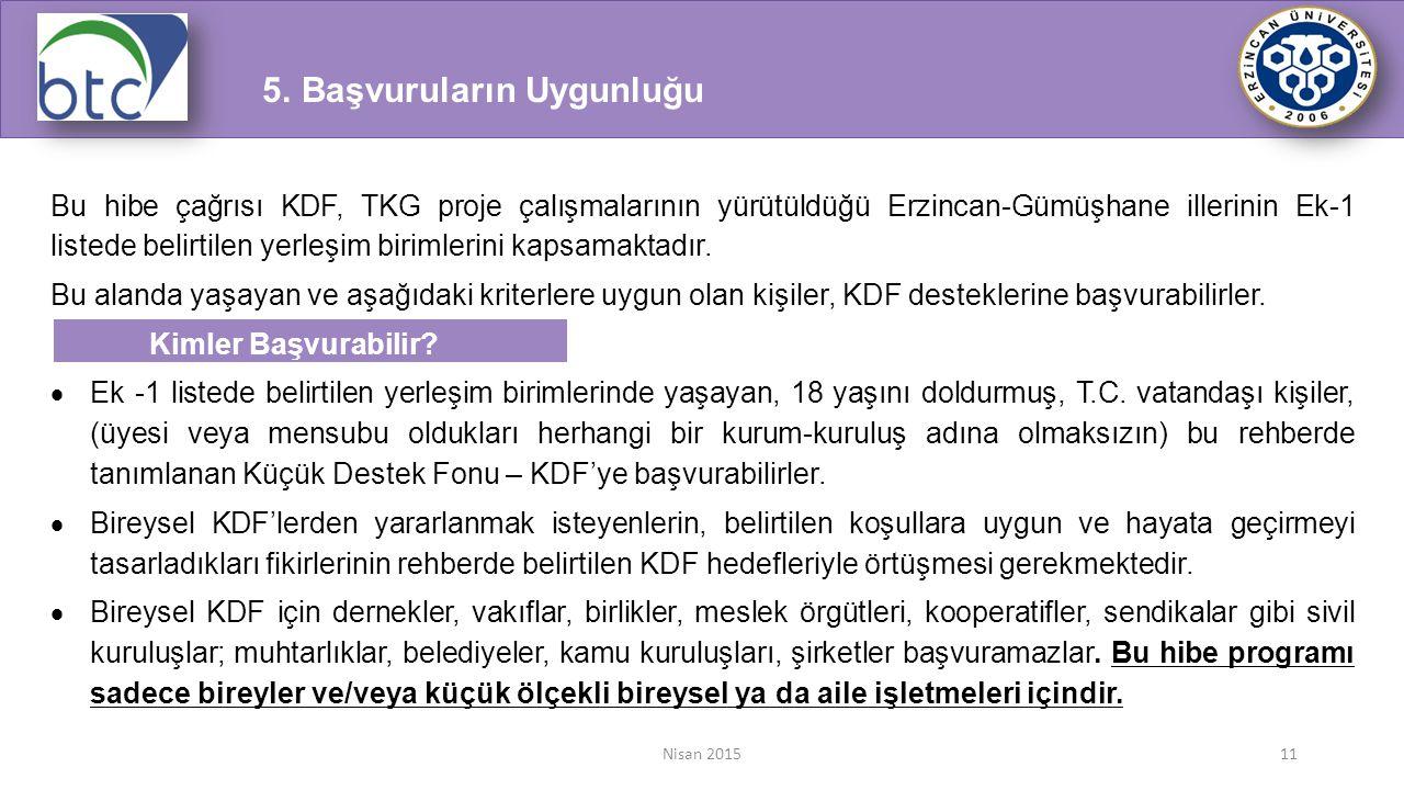 Nisan 201511 Bu hibe çağrısı KDF, TKG proje çalışmalarının yürütüldüğü Erzincan-Gümüşhane illerinin Ek-1 listede belirtilen yerleşim birimlerini kapsa