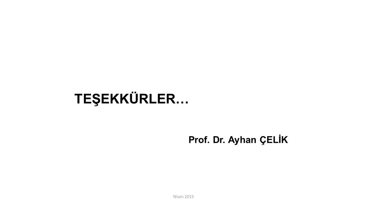 Nisan 2015 TEŞEKKÜRLER… Prof. Dr. Ayhan ÇELİK
