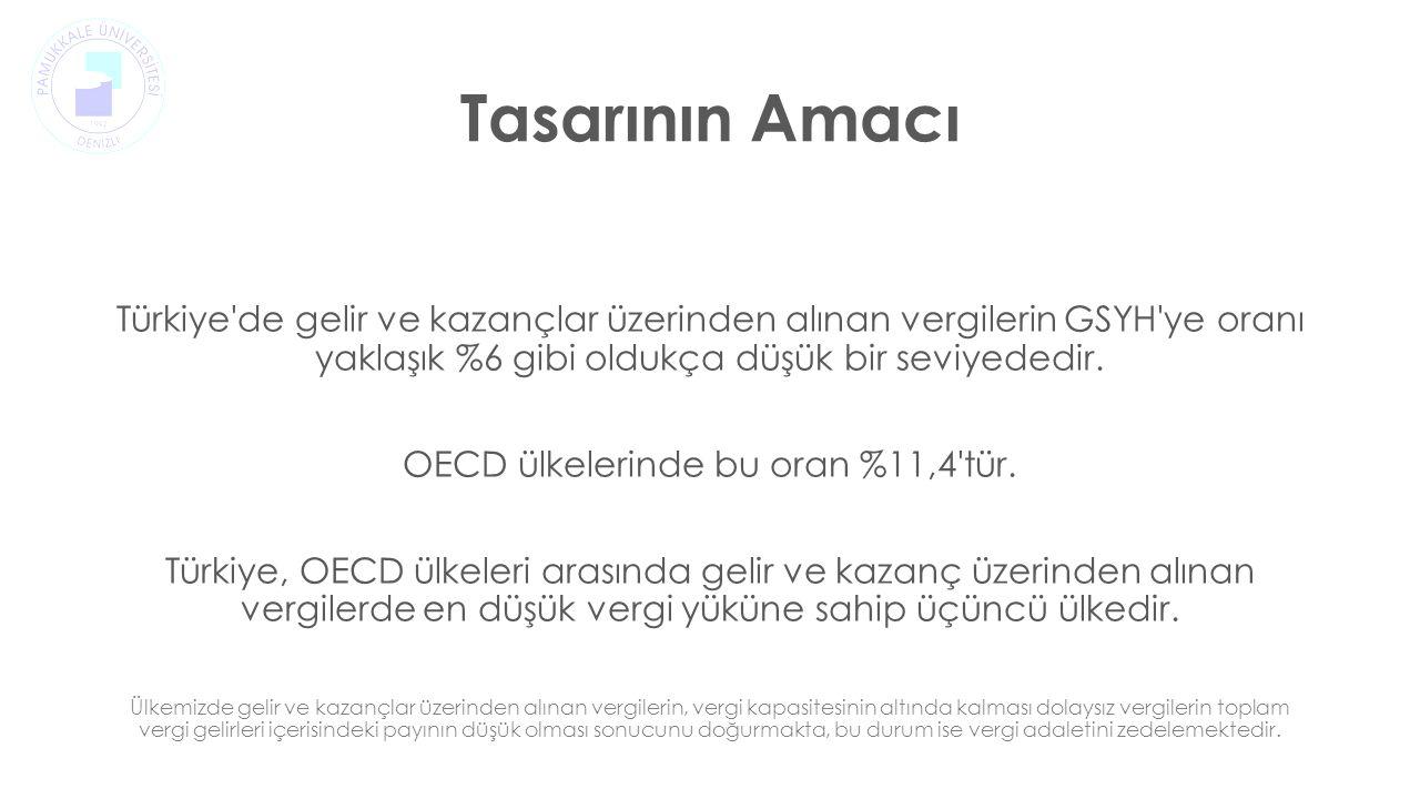 Tasarının Amacı Türkiye de gelir ve kazançlar üzerinden alınan vergilerin GSYH ye oranı yaklaşık %6 gibi oldukça düşük bir seviyededir.