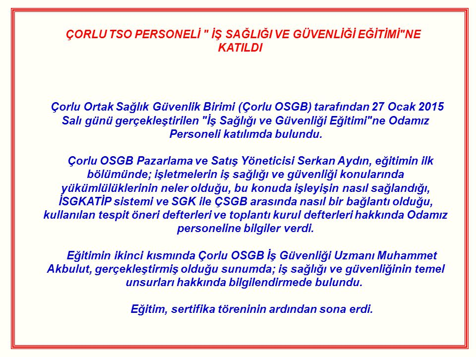 ÇORLU TSO PERSONELİ