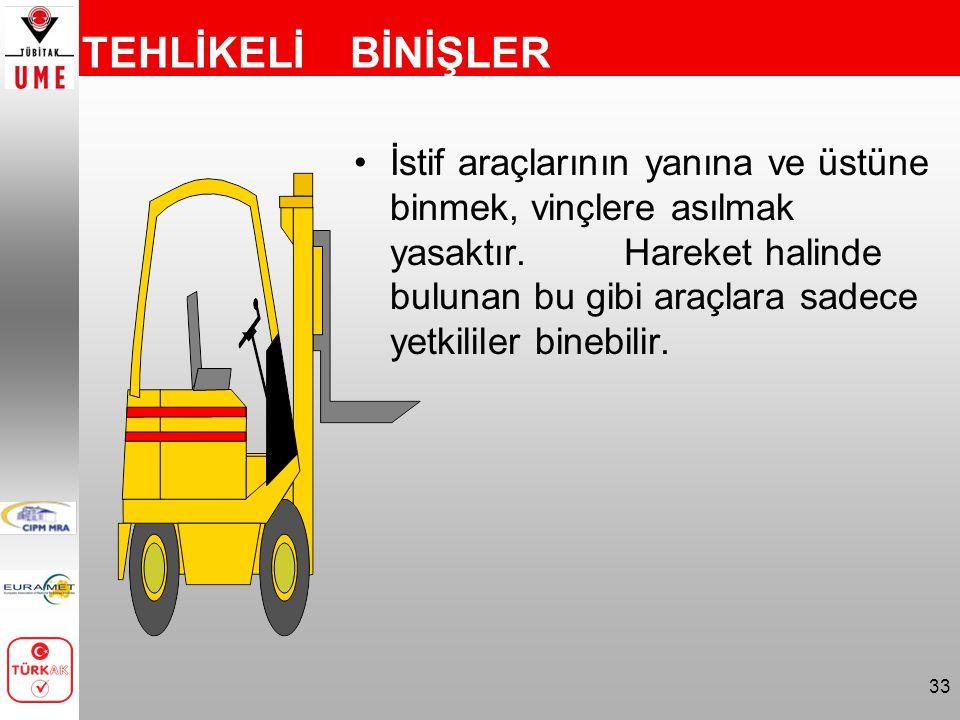 33 TEHLİKELİ BİNİŞLER İstif araçlarının yanına ve üstüne binmek, vinçlere asılmak yasaktır. Hareket halinde bulunan bu gibi araçlara sadece yetkililer