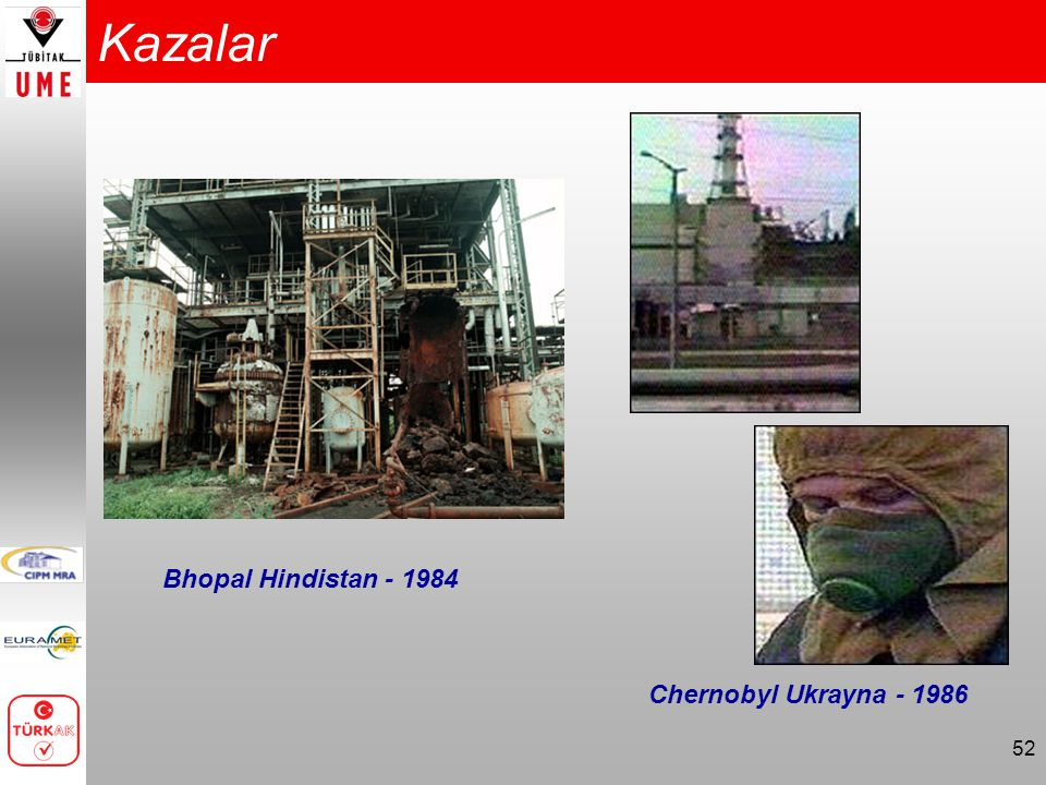 52 Kazalar Bhopal Hindistan - 1984 Chernobyl Ukrayna - 1986