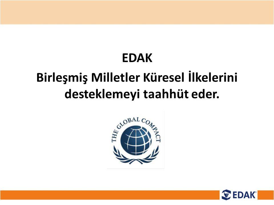 EDAK Birleşmiş Milletler Küresel İlkelerini desteklemeyi taahhüt eder.