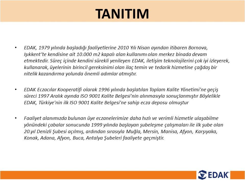 TANITIM EDAK, 1979 yılında başladığı faaliyetlerine 2010 Yılı Nisan ayından itibaren Bornova, Işıkkent'te kendisine ait 10.000 m2 kapalı alan kullanım