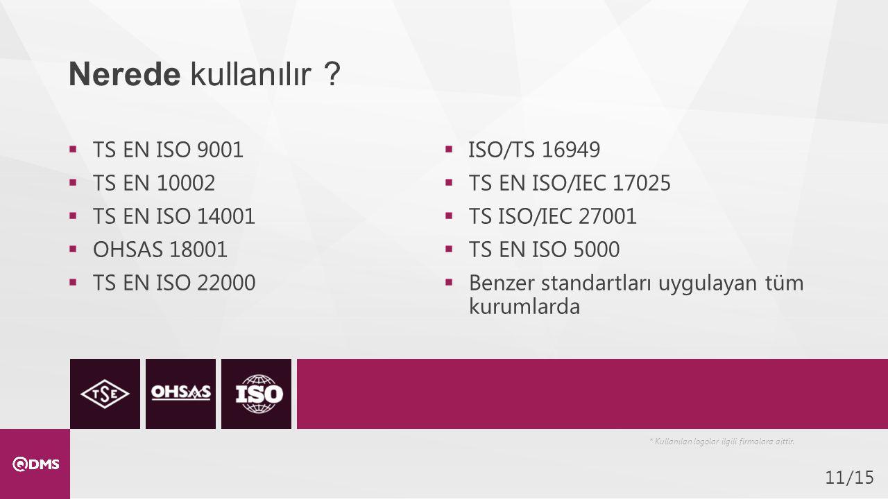 /1511  TS EN ISO 9001  TS EN 10002  TS EN ISO 14001  OHSAS 18001  TS EN ISO 22000  ISO/TS 16949  TS EN ISO/IEC 17025  TS ISO/IEC 27001  TS EN ISO 5000  Benzer standartları uygulayan tüm kurumlarda Nerede kullanılır .