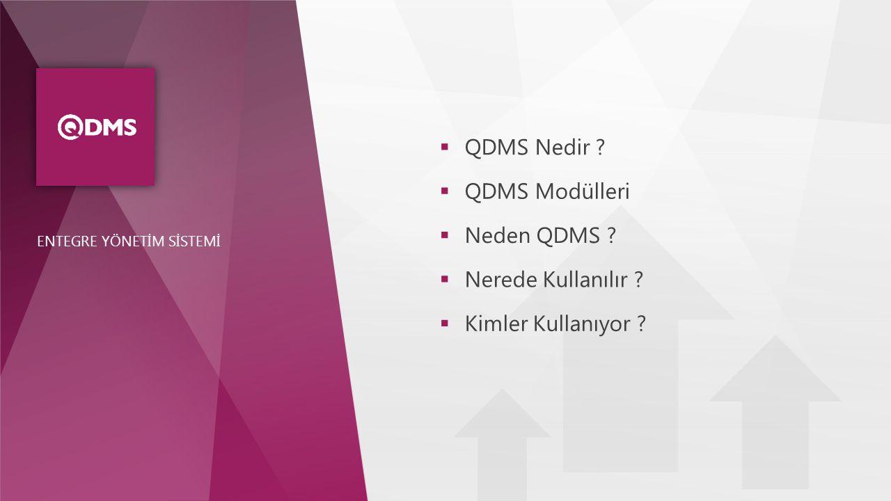  QDMS Nedir ?  QDMS Modülleri  Neden QDMS ?  Nerede Kullanılır ?  Kimler Kullanıyor ?