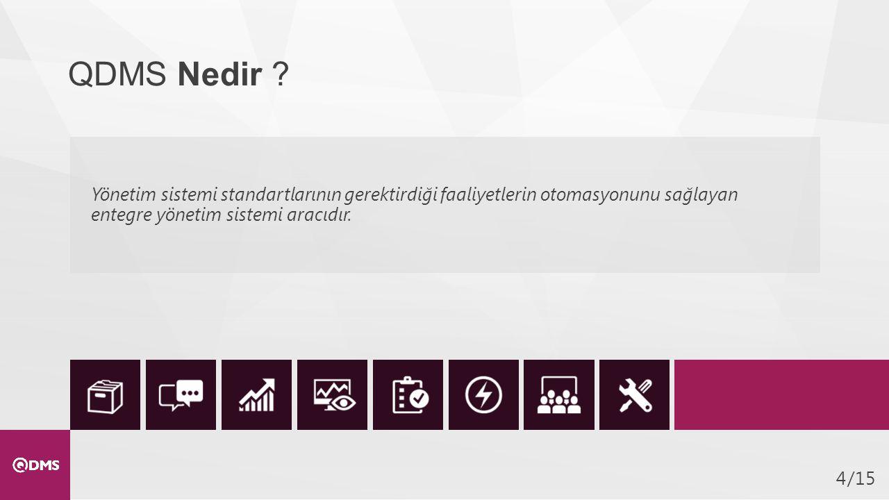 /154 QDMS Nedir ? Yönetim sistemi standartlarının gerektirdiği faaliyetlerin otomasyonunu sağlayan entegre yönetim sistemi aracıdır.