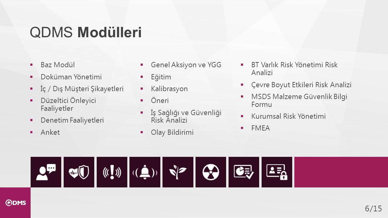 /156 QDMS Modülleri  Baz Modül  Doküman Yönetimi  İç / Dış Müşteri Şikayetleri  Düzeltici Önleyici Faaliyetler  Denetim Faaliyetleri  Anket  Genel Aksiyon ve YGG  Eğitim  Kalibrasyon  Öneri  İş Sağlığı ve Güvenliği Risk Analizi  Olay Bildirimi  BT Varlık Risk Yönetimi Risk Analizi  Çevre Boyut Etkileri Risk Analizi  MSDS Malzeme Güvenlik Bilgi Formu  Kurumsal Risk Yönetimi  FMEA