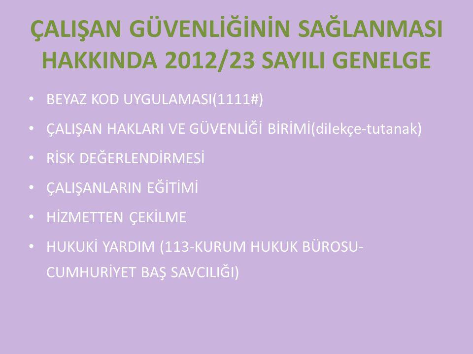 ÇALIŞAN GÜVENLİĞİNİN SAĞLANMASI HAKKINDA 2012/23 SAYILI GENELGE BEYAZ KOD UYGULAMASI(1111#) ÇALIŞAN HAKLARI VE GÜVENLİĞİ BİRİMİ(dilekçe-tutanak) RİSK