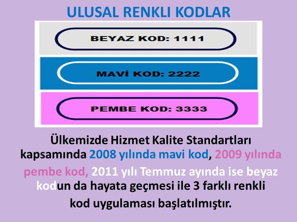 ULUSAL RENKLI KODLAR Ülkemizde Hizmet Kalite Standartları kapsamında 2008 yılında mavi kod, 2009 yılında pembe kod, 2011 yılı Temmuz ayında ise beyaz