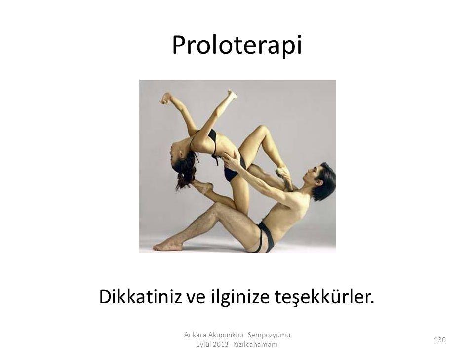 Proloterapi Dikkatiniz ve ilginize teşekkürler. 130 Ankara Akupunktur Sempozyumu Eylül 2013- Kızılcahamam
