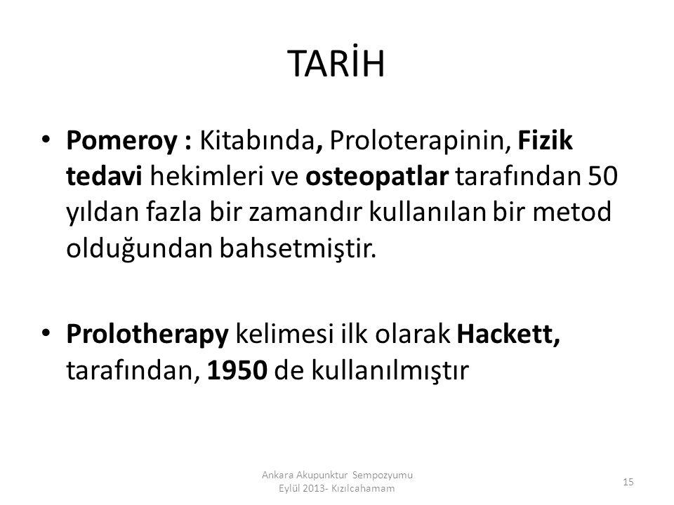 TARİH Pomeroy : Kitabında, Proloterapinin, Fizik tedavi hekimleri ve osteopatlar tarafından 50 yıldan fazla bir zamandır kullanılan bir metod olduğund