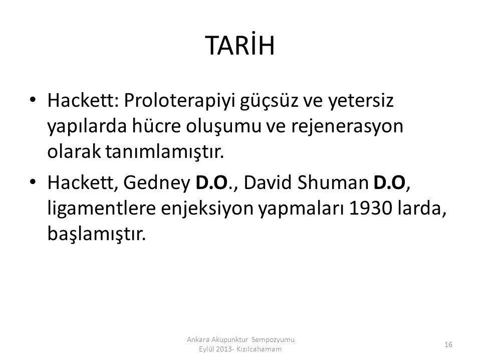 TARİH Hackett: Proloterapiyi güçsüz ve yetersiz yapılarda hücre oluşumu ve rejenerasyon olarak tanımlamıştır. Hackett, Gedney D.O., David Shuman D.O,
