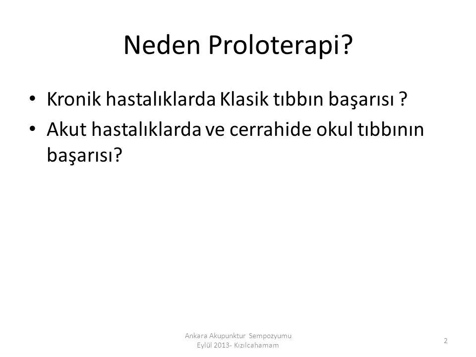 Neden Proloterapi? Kronik hastalıklarda Klasik tıbbın başarısı ? Akut hastalıklarda ve cerrahide okul tıbbının başarısı? 2 Ankara Akupunktur Sempozyum