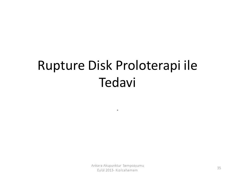 Rupture Disk Proloterapi ile Tedavi. 35 Ankara Akupunktur Sempozyumu Eylül 2013- Kızılcahamam