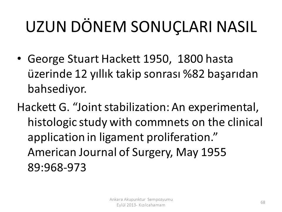 """UZUN DÖNEM SONUÇLARI NASIL George Stuart Hackett 1950, 1800 hasta üzerinde 12 yıllık takip sonrası %82 başarıdan bahsediyor. Hackett G. """"Joint stabili"""
