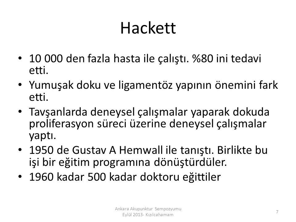 Hackett 10 000 den fazla hasta ile çalıştı. %80 ini tedavi etti. Yumuşak doku ve ligamentöz yapının önemini fark etti. Tavşanlarda deneysel çalışmalar