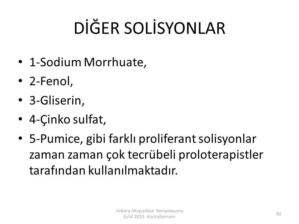 DİĞER SOLİSYONLAR 1-Sodium Morrhuate, 2-Fenol, 3-Gliserin, 4-Çinko sulfat, 5-Pumice, gibi farklı proliferant solisyonlar zaman zaman çok tecrübeli pro
