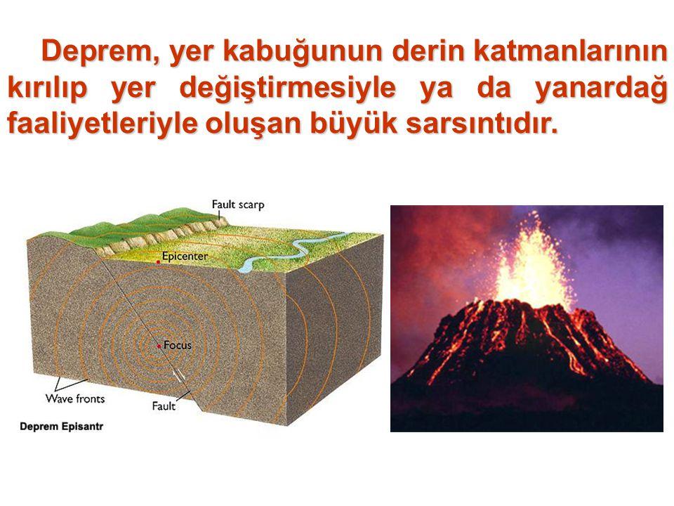 Deprem, yer kabuğunun derin katmanlarının kırılıp yer değiştirmesiyle ya da yanardağ faaliyetleriyle oluşan büyük sarsıntıdır.