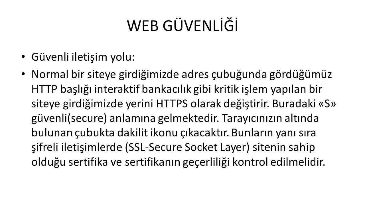 WEB GÜVENLİĞİ Güvenli iletişim yolu: Normal bir siteye girdiğimizde adres çubuğunda gördüğümüz HTTP başlığı interaktif bankacılık gibi kritik işlem ya