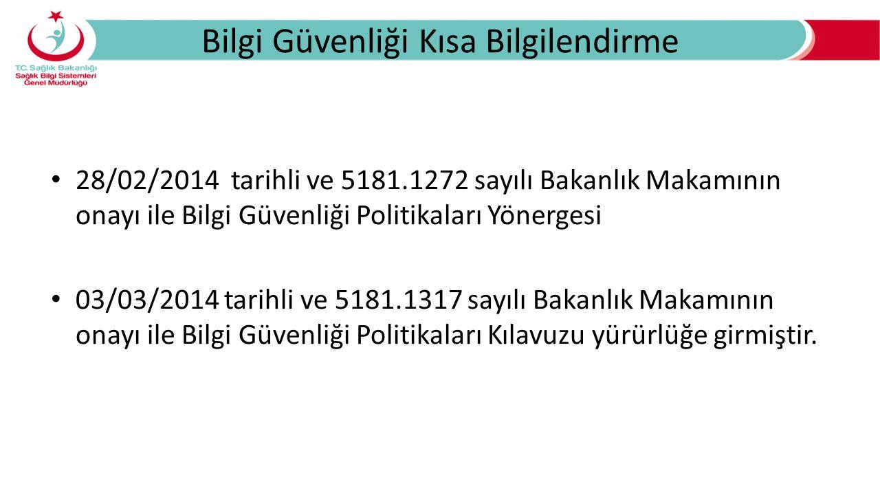 Bilgi Güvenliği Kısa Bilgilendirme 28/02/2014 tarihli ve 5181.1272 sayılı Bakanlık Makamının onayı ile Bilgi Güvenliği Politikaları Yönergesi 03/03/20