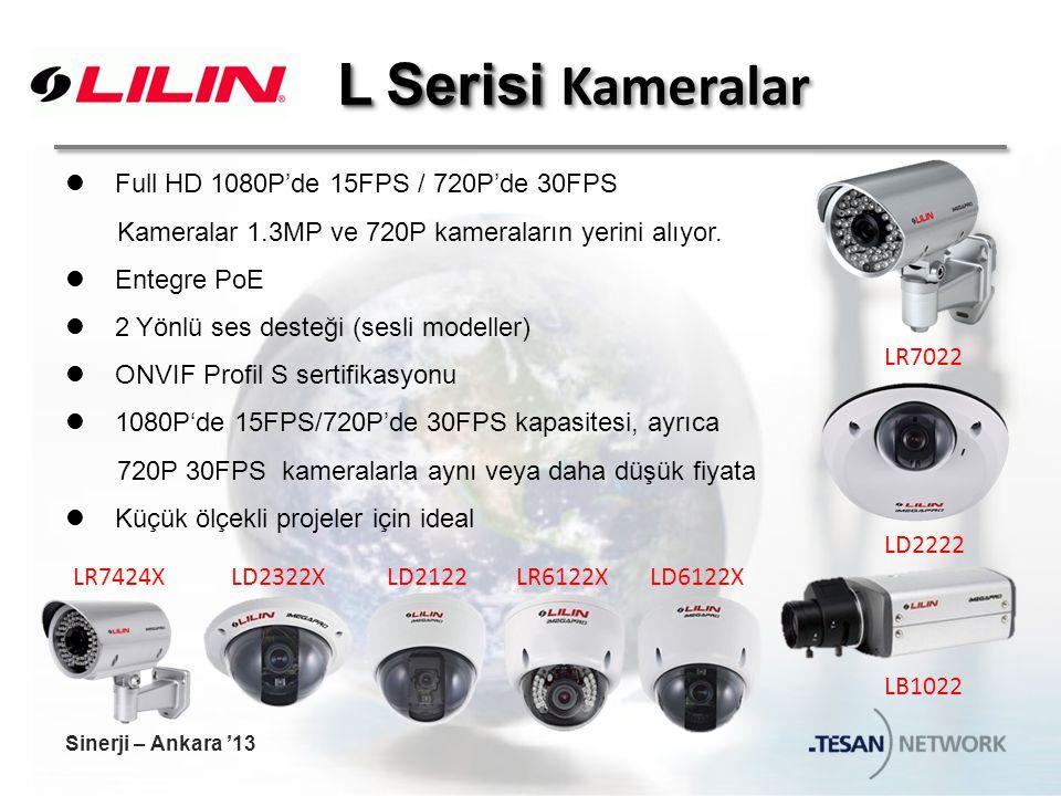 L Serisi L Serisi Kameralar Full HD 1080P'de 15FPS / 720P'de 30FPS Kameralar 1.3MP ve 720P kameraların yerini alıyor.