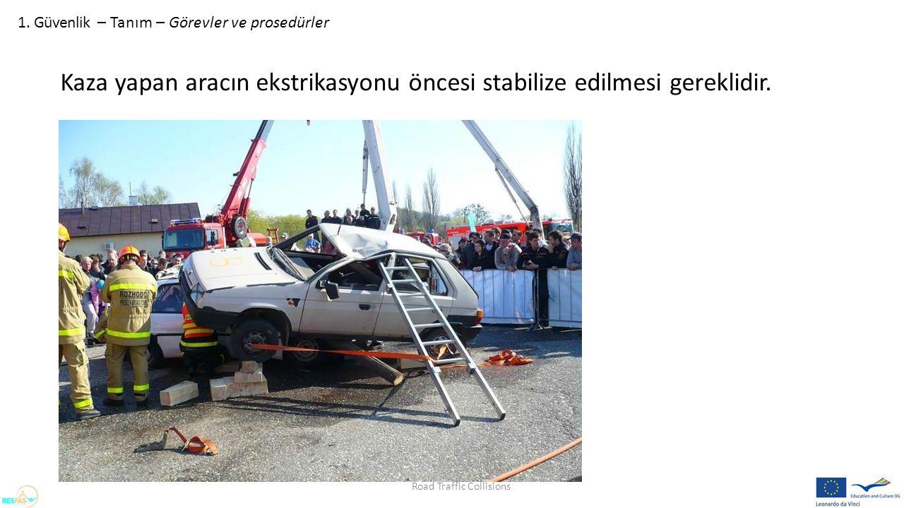 1. Güvenlik – Tanım – Görevler ve prosedürler Kaza yapan aracın ekstrikasyonu öncesi stabilize edilmesi gereklidir. Road Traffic Collisions
