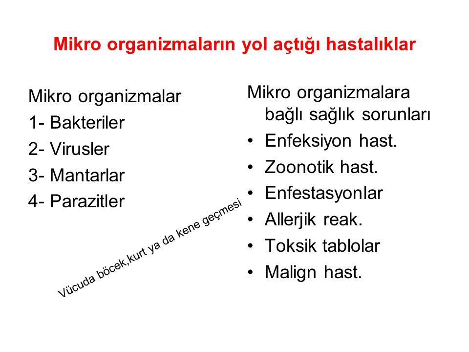 Mikro organizmaların yol açtığı hastalıklar Mikro organizmalar 1- Bakteriler 2- Virusler 3- Mantarlar 4- Parazitler Mikro organizmalara bağlı sağlık s