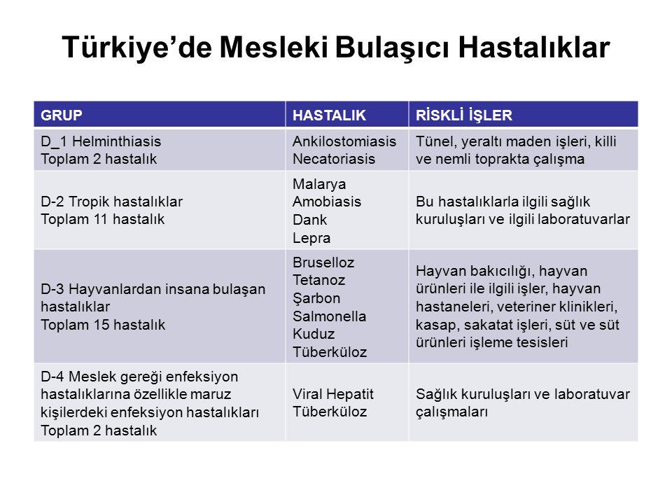 Türkiye'de Mesleki Bulaşıcı Hastalıklar GRUPHASTALIKRİSKLİ İŞLER D_1 Helminthiasis Toplam 2 hastalık Ankilostomiasis Necatoriasis Tünel, yeraltı maden