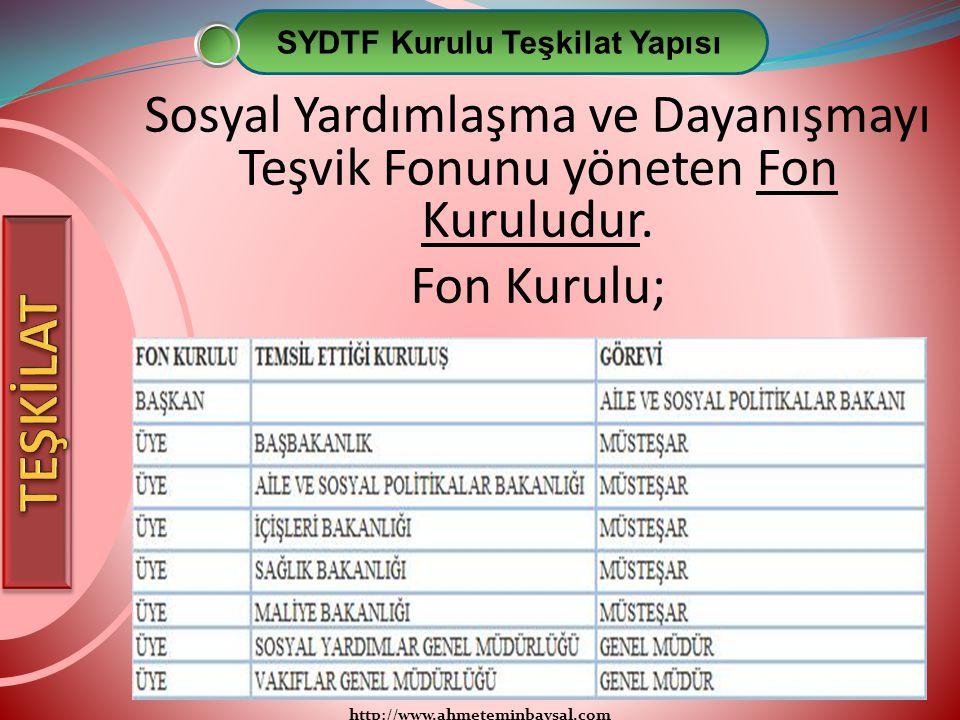 http://www.ahmeteminbaysal.com Sosyal Yardımlaşma ve Dayanışmayı Teşvik Fonunu yöneten Fon Kuruludur. Fon Kurulu; SYDTF Kurulu Teşkilat Yapısı