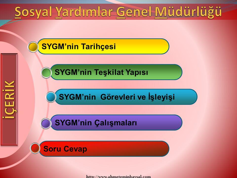 http://www.ahmeteminbaysal.com SYGM'nin TarihçesiSYGM'nin Görevleri ve İşleyişiSoru CevapSYGM'nin ÇalışmalarıSYGM'nin Teşkilat Yapısı