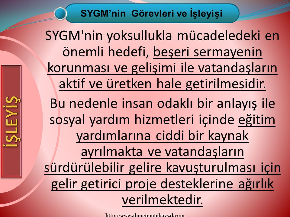 http://www.ahmeteminbaysal.com SYGM'nin yoksullukla mücadeledeki en önemli hedefi, beşeri sermayenin korunması ve gelişimi ile vatandaşların aktif ve