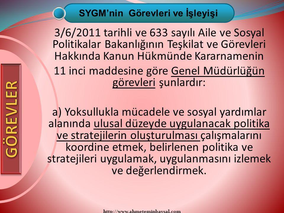 http://www.ahmeteminbaysal.com 3/6/2011 tarihli ve 633 sayılı Aile ve Sosyal Politikalar Bakanlığının Teşkilat ve Görevleri Hakkında Kanun Hükmünde Ka
