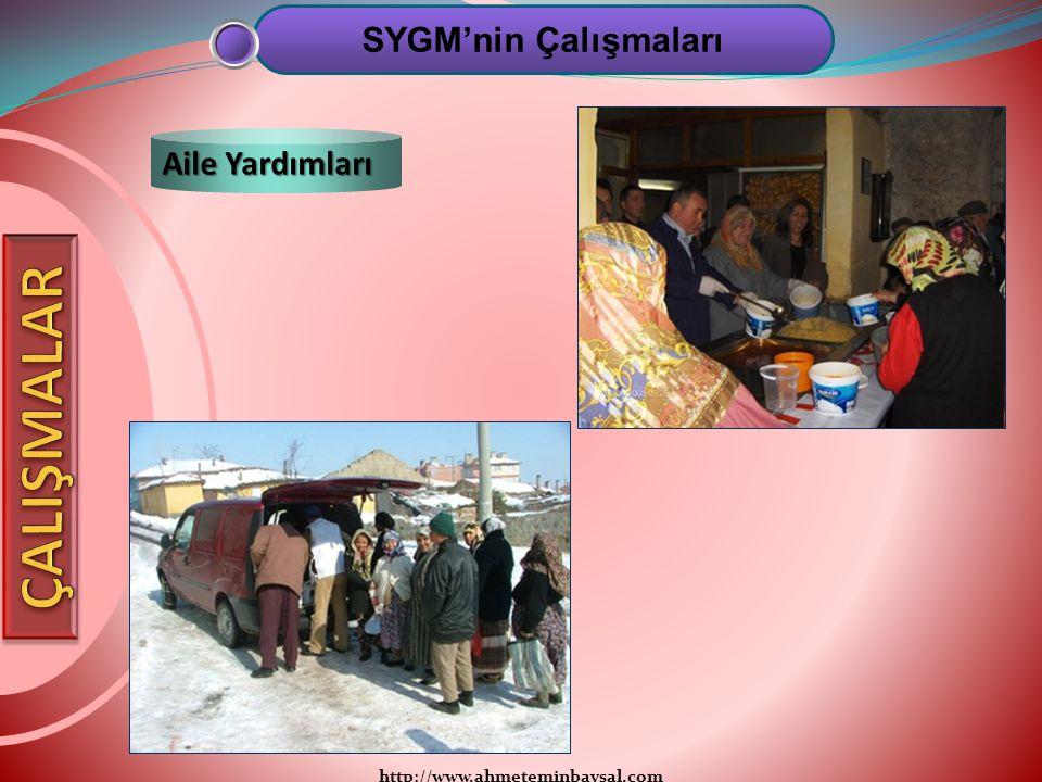 http://www.ahmeteminbaysal.com SYGM'nin Çalışmaları Aile Yardımları